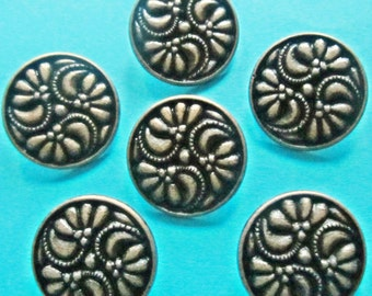 16mm metal buttons -  Lot 20 carved floral style bronze metal shank sewing buttons - metal embellishments - craft supplies