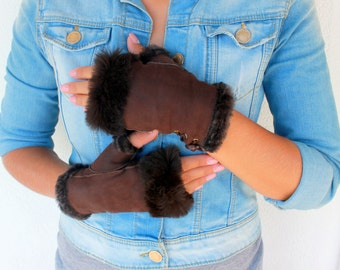 Fingerless Gloves, Leather Fingerless Gloves, Shearling Fur Gloves, Womens Gloves, Sheepskin Gloves, Leather Gloves Women, Brown Gloves
