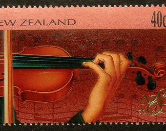 Violin Gift Violinist and Music -Handmade Framed Postage Stamp Art 13617