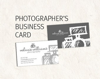 Photography business card design - photographer business card - sketched camera psd files supplied