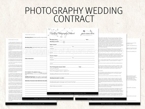 wedding florist contract template - wedding photography contract business forms by