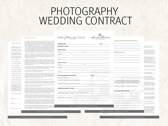 Wedding Photography contract business forms sketched camera