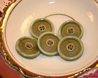 Five moss green vintage buttons