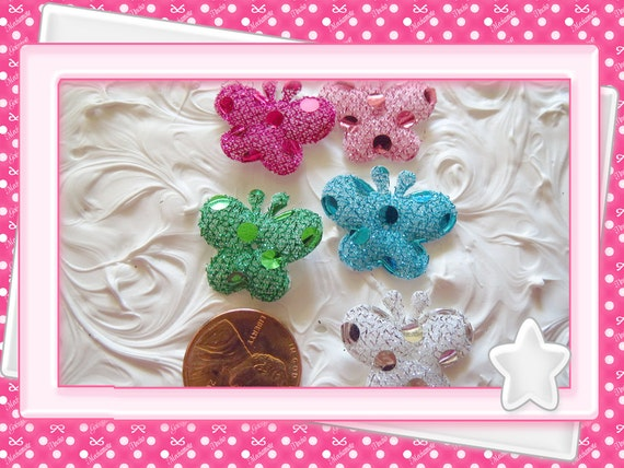 0: )- CABOCHON -( Glitter Butterflies Small Size Pink, Blue, Green, White, Hot Pink