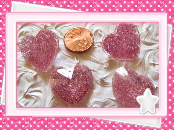 0: )- CABOCHON -( Large Pink Heart Faced Gem Glitter