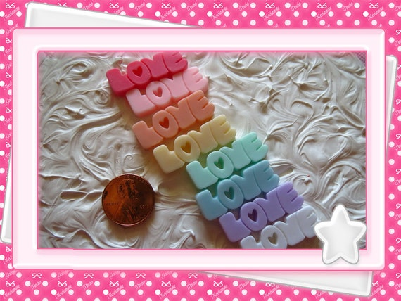 0: )- CABOCHON -( Rainbow LOVE Lettering Words Thick