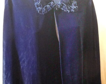 Beautiful Deep Royal Blue Velvet Handmade Cape