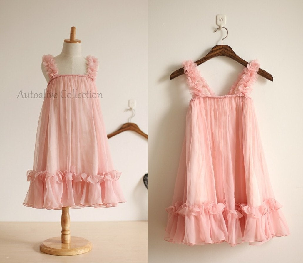 Blush Pink Chiffon Flower Girl Dress Infant Toddler By