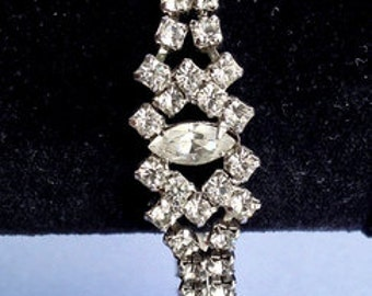 Lovely 2 Row faceted Marquis & Chaton Clear Rhinestone Bracelet.