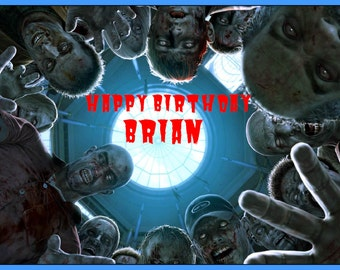 ZOMBIE EDIBLE image cake topper decoration party birthday