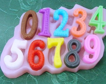 Numbers Flexible Silicone Mold Silicone Mould Candy Mold Chocolate Mold Soap Mold Polymer Clay Mold Resin Mold H0008