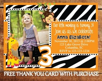 Printable Safari Birthday Party Invitation - Jungle Animal Invite - Monkey Birthday Invitation - Giraffe Party Invite