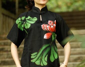 Hand Painted Black Women's Blouse Shirt Top Summer Shirt