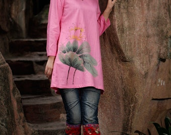 Women's Long Sleeve Blouse Women's Shirt Hand Painted