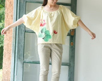Hand Painted Long Sleeve Women's Shirt Yellow Women's Blouse Fashion Style