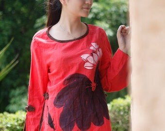 Hand Painted Long Sleeve Women's Shirt Red Blouse Fashion Style