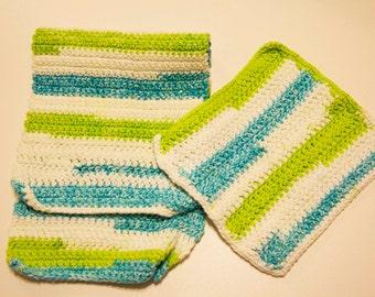Multi Colour Dish Cloth and Hand Towel Set