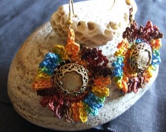 Earrings: Linen - Flower - Button