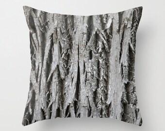 Tree Bark, Pillow Cover, 16x16, home decoration, Fall Deco, macro, brown, grey, botanical