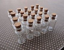 20pcs Mini glass bottles with corks 35x16mm--GF43