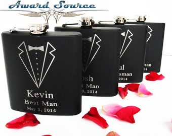 Groomsmen Gift, 6 Personalized Engraved Tuxedo Flasks, Wedding Party Gifts, Gifts for Groomsmen, Wedding Flask