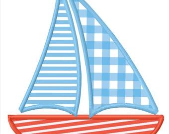 Nautical Sailboat Applique Machine Embroidery Design INSTANT DOWNLOAD Professionally Digitized - Super Cute!  ---Buy 3 get 1 design FREE!---
