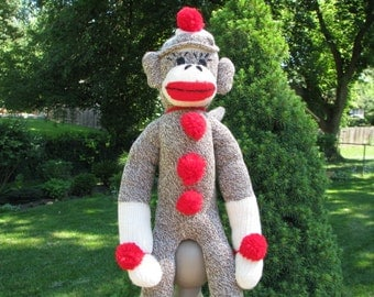 Original Brown Sock Monkey Doll BopBo the Monkey Plush Children's Toy