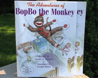 Childrens Sock Monkey Book The Adventures of BopBo the Monkey