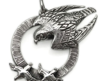 Peregrine Falcon necklace , silver pendant.