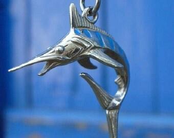 Blue Marlin necklace , enamelled  silver swordfish pendant.