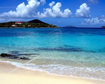 Beach Photography - Sapphire Beach US Virgin Islands Caribbean Water St Thomas Island Blue Green Turquoise Coastal Decor Tropical