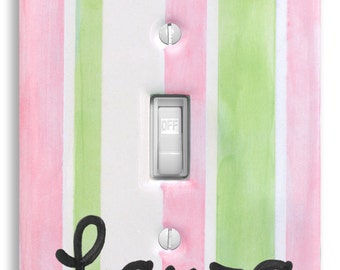 Light Switch Cover  - Personalized Hand Painted Ceramic - Kids Room Wall Decor