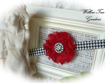 Crimson Red Shabby Chic Headband, Alabama Colors, Baby/Toddler/Girl/Adult Headband, Photo Prop
