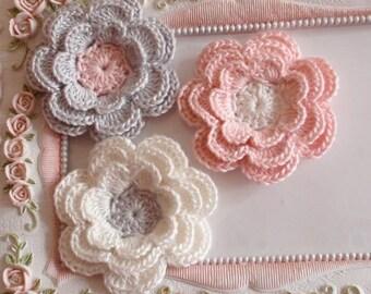 3 crochet flowers applique CH-036-10