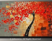 Original modern abstract landscape thick textured impasto palette knife red flowers tree blossom oil painting on 40x20 Canvas Ready to Hang