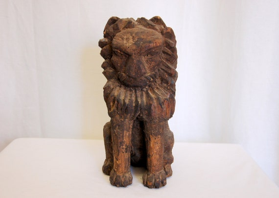 Hand Carved Wood Lion Figurine Statue Home Decor By