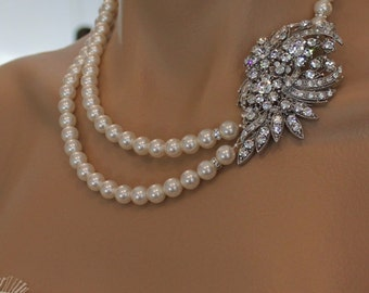 Pearl and Crystal Bridal Necklace, Vintage Style Wedding Necklace,  Statement Bridal Jewelry, DAISY