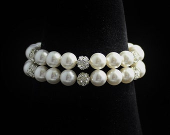 Pave crystal and Pearl Bracelet, Bridal Bracelet, Wedding Jewelry, Bridal Jewelry, Bridesmaid Bracelet CARMEN