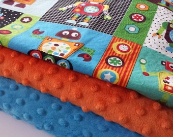 Baby Blanket - MADE TO ORDER -Robot Minky Baby Blanket - Minky Blanket - Robots, Gear Heads Minky Blanket - Cot Blanket - Baby Bedding