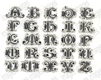 Alphabet Clipart Digital Collage Sheet Vintage French Typography Alphabet for Scrapbooking Clip Art  for Instant Download 300dpi commercial