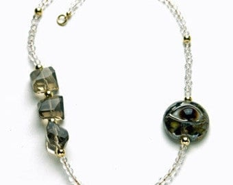 Crystal and Smoke Quartz Necklace with Lampwork Eye and 14K Gold-Filled Beads