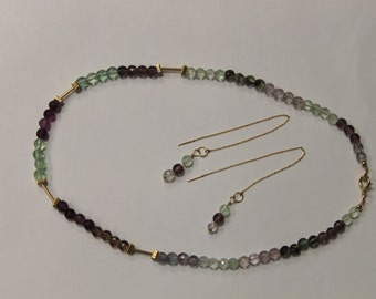 Set: Flourite and 14K Gold-Fill Necklace and Earrings