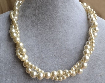 cream  pearl Necklace,Glass Pearl Necklace, two strangs Pearl Necklace,Wedding Necklace,bridesmaid necklace,Jewelry