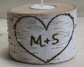 Candle holder.  Birch branch tea light holder.  Personalized with your initials.  Made to order.  Personalized wedding decorations.