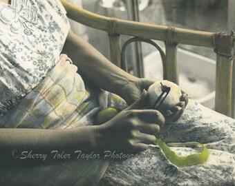 "Fine Art Photography - ""Everyday Rituals"" Figure Photography,Food Photography,Food Art,Kitchen Decor,Fruit,Green Apple,Cook,Hands,9x12"