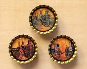 Set of Three Classic Steam Fire Engine Bottlecap Magnets