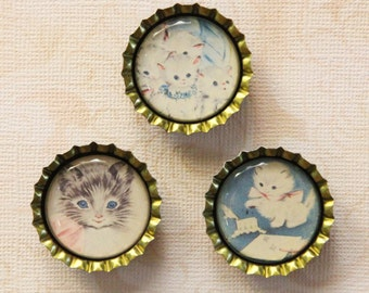 Set of Three Vintage Illustration of Kitty Cats Bottlecap Magnets