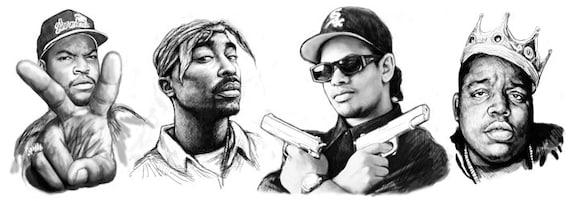 Eazy E Cartoon: Items Similar To 2pac, Eazy-e, Biggie Smalls, Ice Cube Rap