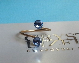 Gold Plated Adjustable Toe Ring made with Light Sapphire Swarovski Crystal Elements