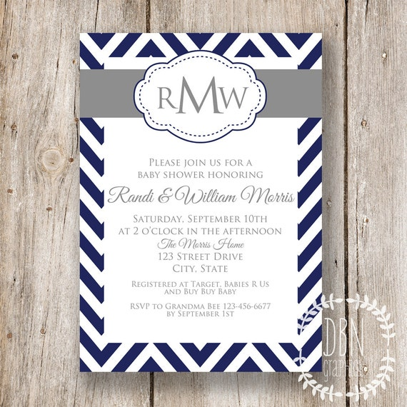 Baby Blue Wedding Invitations: INSTANT DOWNLOAD Chevron Monogram Baby Shower By DBNGraphics